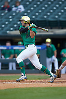 Matt Vierling (24) of the Notre Dame Fighting Irish follows through on his swing against the Florida State Seminoles in Game Four of the 2017 ACC Baseball Championship at Louisville Slugger Field on May 24, 2017 in Louisville, Kentucky. The Seminoles walked-off the Fighting Irish 5-3 in 12 innings. (Brian Westerholt/Four Seam Images)