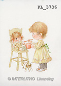 Interlitho, Mercedes, CHILDREN, nostalgic, paintings, girl, doll, cat(KL3736,#K#) Kinder, niños, nostalgisch, nostálgico, illustrations, pinturas