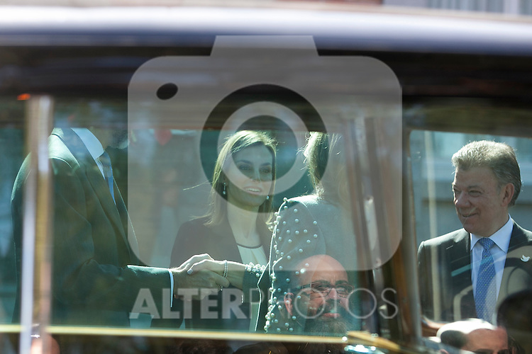 Queen Letizia of Spain during the Colombia´s President Juan Manuel Santos and his wife Maria Clemencia Rodriguez welcome ceremony at Zarzuela Palace in Madrid, Spain. March 01, 2015. (ALTERPHOTOS/Victor Blanco)