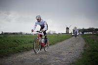 Stijn Devolder (BEL/Trek-Segafredo) in sector 7: Templeuve (Moulin-de-Vertain) during recon of the 114th Paris - Roubaix 2016