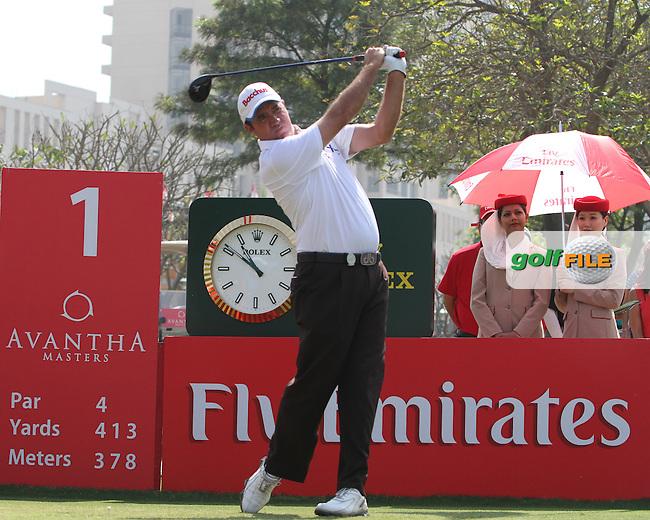Scott Hend (AUS) on the 1st tee during Round 4 of the 2013 Avantha Masters, Jaypee Greens Golf Club, Greater Noida, Delhi, 17/3/13..(Photo Jenny Matthews/www.golffile.ie)