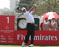 Scott Hend (AUS) on the 1st tee during Round 4 of the 2013 Avantha Masters, Jaypee Greens Golf Club, Greater Noida, Delhi, 17/3/13..(Photo Jenny Matthews/www.golffile.ie)
