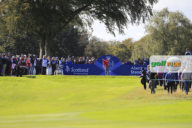 Danielle Kang Team USA on the 7th tee during Day 1 Fourball at the Solheim Cup 2019, Gleneagles Golf CLub, Auchterarder, Perthshire, Scotland. 13/09/2019.<br /> Picture Thos Caffrey / Golffile.ie<br /> <br /> All photo usage must carry mandatory copyright credit (© Golffile | Thos Caffrey)