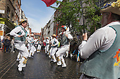 London, UK. 10 May 2014. Pictured: Morris Men from Wantage dancing in Gerrard Street/Chinatown. Morris Dance groups from all over England gathered in London and performed for the public during the Westminster Morris Men Day of Dance.