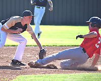 RICK PECK/SPECIAL TO MCDONALD COUNTY PRESS McDonald County's Sampson Boles gets tagged out at second while attempting to take an extra base on a single during McDonald County's 4-2 loss to Neosho on June 11 at MCHS.