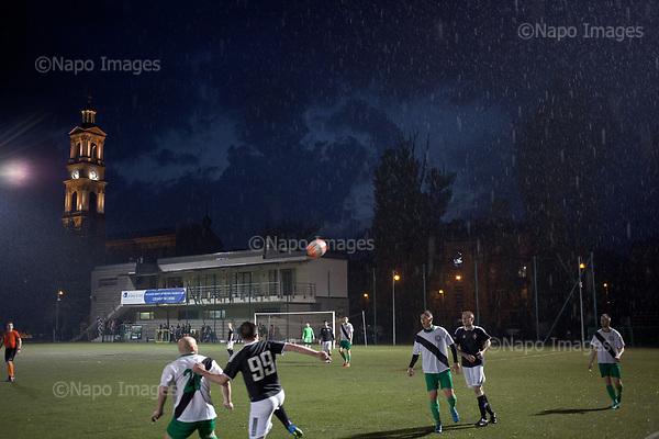 WARSAW, POLAND, 6/05/2017:<br /> &quot;AKS Zly&quot; soccer team is playing against &quot;Legion II Warszawa&quot; , at the &quot;AKS Zly&quot; soccer club in Warsaw, Poland, May 6, 2017. The club is multicultural and has many foreign players including the Georgians, Palestinians and Vietnamese. <br /> (Photo by Piotr Malecki)###<br /> WARSZAWA, MAJ 2017:<br /> Czwartoligowy klub pilkarski &quot;AKS Zly&quot; na Szmulkowiznie na warszawskiej Pradze, w ktorym trenerem jest Palestynczyk, a w skladzie zespolu graja obok Polakow Wietnamczycy, Gruzini i Palestynczycy jest przykladem, ze pokojowa, sportowa wielokulturowosc jest mozliwa nawet w Polsce.<br /> Fot: Piotr Malecki<br /> <br /> ###ZDJECIE MOZE BYC UZYTE W KONTEKSCIE NIEOBRAZAJACYM OSOB PRZEDSTAWIONYCH NA FOTOGRAFII###