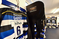 A general view of Matt Garvey's matchday jersey hung up in the Bath Rugby changing rooms. Aviva Premiership match, between Bath Rugby and Exeter Chiefs on October 17, 2015 at the Recreation Ground in Bath, England. Photo by: Patrick Khachfe / Onside Images