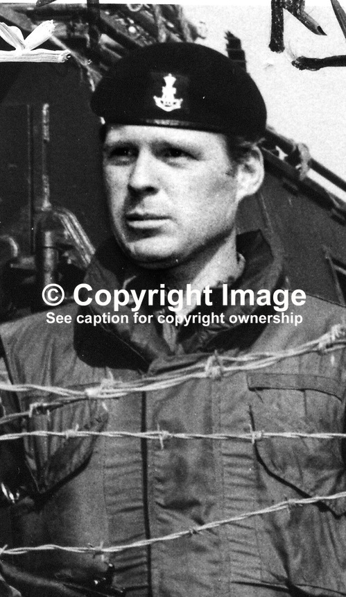 Lance Corporal Peter Herrington, Scarborough, Yorkshire, Green Howards regiment, killed by sniper, 17 June 1971, Belfast, N Ireland, 197199170358, 358/71..Copyright Image from Victor Patterson, 54 Dorchester Park, Belfast, UK, BT9 6RJ..Tel: +44 28 9066 1296.Mob: +44 7802 353836.Voicemail +44 20 8816 7153.Skype: victorpattersonbelfast.Email: victorpatterson@mac.com.Email: victorpatterson@ireland.com (back-up)..IMPORTANT: If you wish to use this image or any other of my images please go to www.victorpatterson.com and click on the Terms & Conditions. Then contact me by email or phone with the reference number(s) of the image(s) concerned.