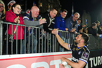 Jeff Williams of Bath Rugby meets and greets supporters after the match. European Rugby Challenge Cup match, between Bath Rugby and Bristol Rugby on October 20, 2016 at the Recreation Ground in Bath, England. Photo by: Patrick Khachfe / Onside Images
