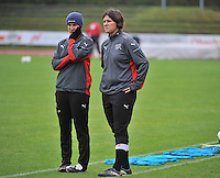 20131013 - BAMBERG , GERMANY :  Swiss coach Brigitte Steiner (right) and assistant Rahel Grand (left) pictured during the female soccer match between Switzerland Women U17 and Belgium U17 , in the second game of the Elite round in group 6 in the UEFA European Women's Under 17 competition 2013 in the Fuchs Park Stadion - Bamberg  Sunday 13 October 2013. PHOTO DAVID CATRY