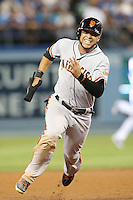 September 24, 2014 Los Angeles, CA: San Francisco Giants center fielder Gregor Blanco #7  during an MLB game between the San Francisco Giants and the Los Angeles Dodgers played at Dodger Stadium The Dodgers defeated the Giants 9-1 to win the National League West Title.
