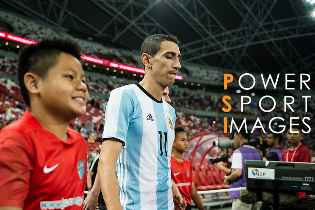 Angel Di Maria of Argentina getting into the field during the International Test match between Argentina and Singapore at National Stadium on June 13, 2017 in Singapore. Photo by Marcio Rodrigo Machado / Power Sport Images