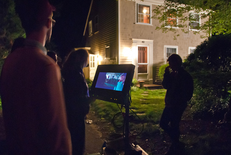 Shooting on location on Cape Cod, at 42 Foster Road, Brewster, feature film Lies I Told My Little Sister, with Director William J. Sribling (left)