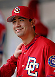 11 June 2006: Mike O'Connor, pitcher for the Washington Nationals, smiles in the dugout prior to a game against the Philadelphia Phillies at RFK Stadium, in Washington, DC. The Nationals shut out the visiting Phillies 6-0 to take the series three games to one...Mandatory Photo Credit: Ed Wolfstein Photo..