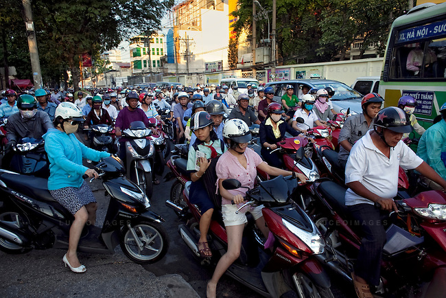Motorbike traffic in Ho Chi Minh City, Vietnam...Kevin German / LUCEO