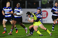 Harry Thacker of Leicester Tigers is tackled by Michael van Vuuren of Bath Rugby. Anglo-Welsh Cup match, between Bath Rugby and Leicester Tigers on November 4, 2016 at the Recreation Ground in Bath, England. Photo by: Patrick Khachfe / Onside Images