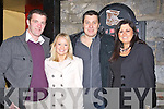 FOOD; Heading into the Kirby's Brogue Inn,Tralee to bring in the New Year, Friday night,. L-r:David Leahy, Aileen Dowling,Anthony Gleeson and Michelle Dowling...... . ............................... ..........