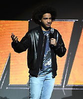 LAS VEGAS, NV - APRIL 25: Jorge Lendeborg Jr. onstage during the Paramount Pictures presentation at CinemaCon 2018 at The Colosseum at Caesars Palace on April 25, 2018 in Las Vegas, Nevada. (Photo by Frank Micelotta/PictureGroup)