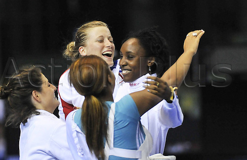 16 08 2011 Shenzhen, China.  Lauren Rembi of France Celebrates with her teammates After Winning the womens Epee team Final of Fencing Event Against The United States AT The 26th Summer Universiade in Shenzhen A City of South China s Guangdong Province  France defeated U.S. 45 39 to Win The Gold Medal