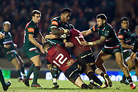 Manu Tuilagi of Leicester Tigers takes on the Munster Rugby defence. European Rugby Champions Cup match, between Leicester Tigers and Munster Rugby on December 17, 2017 at Welford Road in Leicester, England. Photo by: Patrick Khachfe / JMP