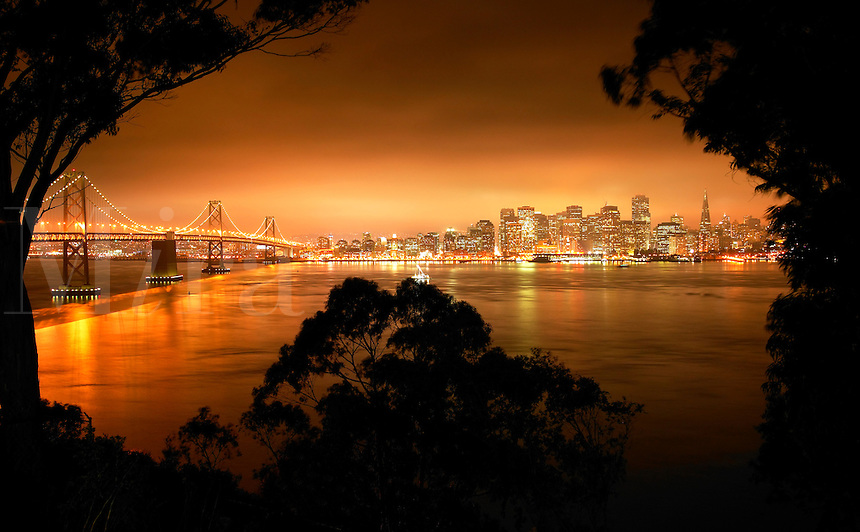 The Bay Bridge and the city of San Francisco from Yerba Buena Island, California.