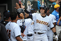 Trenton Thunder outfielder Jake Cave (36) hits a home run during game against the Binghamton Mets at ARM & HAMMER Park on July 27, 2014 in Trenton, NJ.  Trenton defeated Binghamton 7-3.  (Tomasso DeRosa/Four Seam Images)