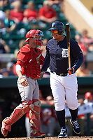 Detroit Tigers first baseman Miguel Cabrera (24) jokes with catcher Evan Barnes (39) during an exhibition game against the Florida Southern Moccasins on February 29, 2016 at Joker Marchant Stadium in Lakeland, Florida.  Detroit defeated Florida Southern 7-2.  (Mike Janes/Four Seam Images)