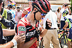 Richie Porte (AUS) BMC Racing Team crashes out with a broken collar bone during Stage 9 of the 2018 Tour de France running 156.5km from Arras Citadelle to Roubaix, France. 15th July 2018. <br /> Picture: ASO/Pauline Ballet | Cyclefile<br /> All photos usage must carry mandatory copyright credit (&copy; Cyclefile | ASO/Pauline Ballet)
