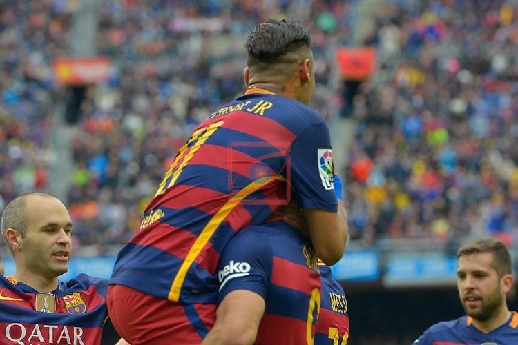 League BBVA 2015/2016 - Game: 37.<br /> FC Barcelona vs RCD Espanyol: 5-0.<br /> Neymar &amp; Luis Suarez.