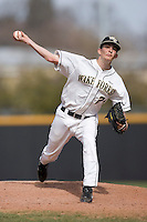 Brandon Johnson #24 of the Wake Forest Demon Deacons in action versus the Virginia Cavaliers at Wake Forest Baseball Park March 8, 2009 in Winston-Salem, NC. (Photo by Brian Westerholt / Four Seam Images)