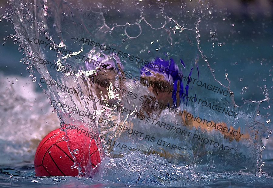 Waterpolo players from Partizan Belgrade and Dymano Moscow fights for ball during Champions league match in Belgrade 23.1.2005. photo: Pedja Milosavljevic<br />