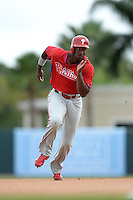 Philadelphia Phillies outfielder Domonic Brown (9) during a spring training game against the Baltimore Orioles on March 7, 2014 at Ed Smith Stadium in Sarasota, Florida.  Baltimore defeated Philadelphia 15-4.  (Mike Janes/Four Seam Images)