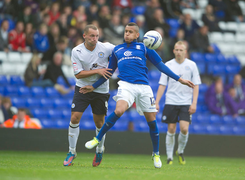 Birmingham City's Ravel Morrison shields the ball from Leicester City's Jamie Vardy ..Football - npower Football League Championship - Birmingham City v Leicester City - Saturday 20th October 2012 - St Andrews - Birmingham..