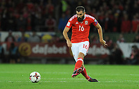 Wales'  Joe Ledley<br /> <br /> Photographer Ian Cook/CameraSport<br /> <br /> FIFA World Cup Qualifying - European Region - Group D - Wales v Republic of Ireland - Monday 9th October 2017 - Cardiff City Stadium - Cardiff<br /> <br /> World Copyright &copy; 2017 CameraSport. All rights reserved. 43 Linden Ave. Countesthorpe. Leicester. England. LE8 5PG - Tel: +44 (0) 116 277 4147 - admin@camerasport.com - www.camerasport.com
