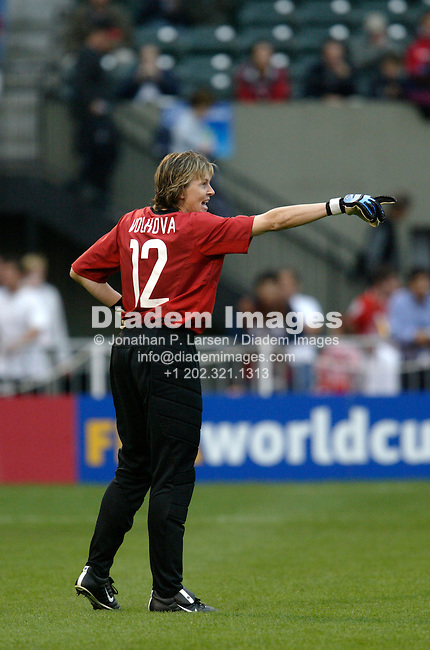 PORTLAND, OREGON - OCTOBER 2:  Russia goalkeeper Alla Volkova gestures during a Women's World Cup quarterfinal soccer match against Germany October 5, 2003 in Portland, Oregon.  (Photograph by Jonathan P. Larsen)