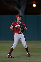Cameron Frost (35) of the Washington State Cougars throws between innings of a game against the Southern California Trojans at Dedeaux Field on March 13, 2015 in Los Angeles, California. Southern California defeated Washington State, 10-3. (Larry Goren/Four Seam Images)