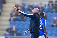 John McGreal, Manager of Colchester United looks to get his message across to his team in the first half during Colchester United vs Carlisle United, Sky Bet EFL League 2 Football at the JobServe Community Stadium on 23rd February 2019