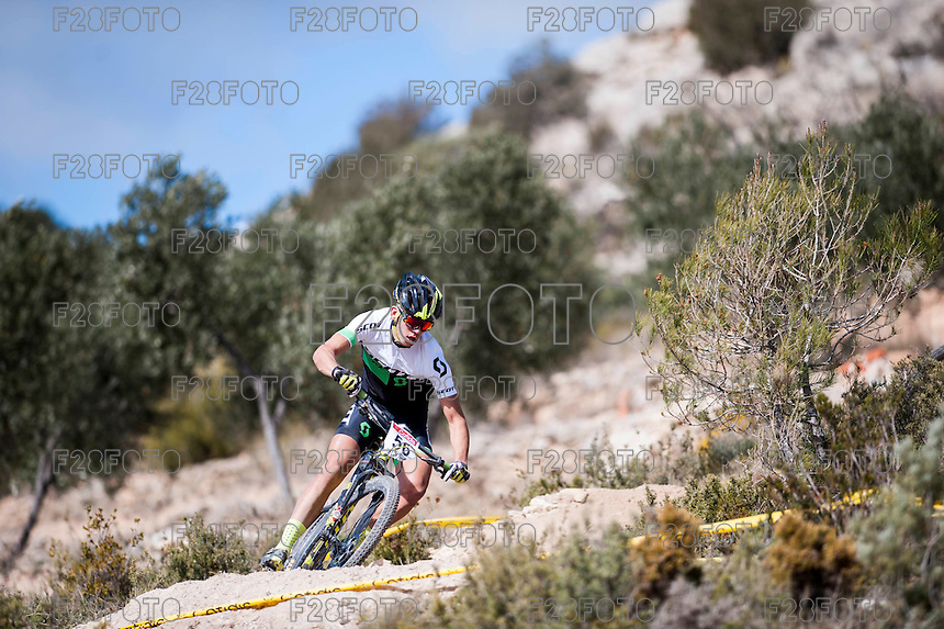Chelva, SPAIN - MARCH 6: Bernat Trias during Spanish Open BTT XCO on March 6, 2016 in Chelva, Spain
