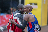 Mo Farah of Great Britain congratulates Geoffrey Kamworor of Kenya on winning the IAAF World Half Marathon Championships 2016 in Cardiff, Wales on 26 March 2016. Photo by Mark  Hawkins / PRiME Media Images.