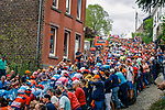 The peloton climb Mur de Huy for the 2nd time during the 2019 La Fleche Wallonne, running 195km from Ans to Huy, Belgium, 24 April 2019.<br /> Photo by Thomas van Bracht / PelotonPhotos.com / Cyclefile<br /> Photo by Thomas van Bracht / PelotonPhotos.com / Cyclefile