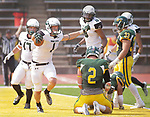 SPEARFISH, SD: SEPTEMBER 2: James Holtrop #1 of Adams State celebrates after scoring a touchdown against Black Hills State during their game Saturday at Lyle Hare Stadium in Spearfish, S.D.   (Photo by Dick Carlson/Inertia)