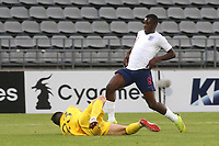 Chile goalkeeper, Luis Ureta makes a save at the feet of England's Eddie Nketiah during Chile Under-21 vs England Under-20, Tournoi Maurice Revello Football at Stade Parsemain on 7th June 2019