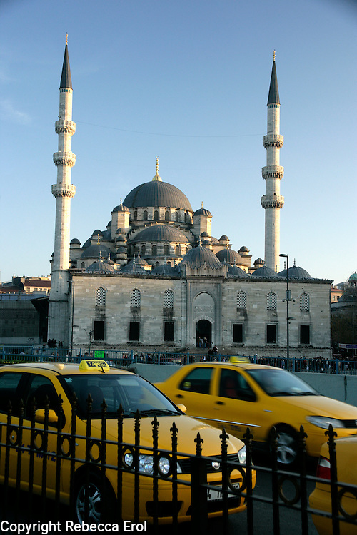 New Mosque and yellow taxis, Istanbul, Turkey