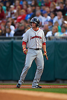 Pawtucket Red Sox outfielder Jonathan Roof (25) during a game against the Buffalo Bisons on August 28, 2015 at Coca-Cola Field in Buffalo, New York.  Pawtucket defeated Buffalo 7-6.  (Mike Janes/Four Seam Images)