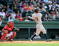 Infielder Robert Refsnyder (15) of the Charleston RiverDogs in a game against the Greenville Drive on Sunday, April 7, 2013, at Fluor Field at the West End in Greenville, South Carolina. Charleston won, 5-0. (Tom Priddy/Four Seam Images)