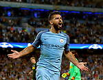 Sergio Aguero of Manchester City celebrates his hat-rick goal during the UEFA Champions League Group C match at The Etihad Stadium, Manchester. Picture date: September 14th, 2016. Pic Simon Bellis/Sportimage