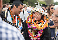 Siddharth Saravat and Katie Yanagi. The class of 2015 graduates during Occidental College's 133rd Commencement, the Remsen Bird Hillside Theater, on Sunday, May 17, 2015.<br />