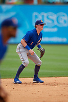 Durham Bulls shortstop Jake Cronenworth (1) during an International League game against the Toledo Mud Hens on July 16, 2019 at Fifth Third Field in Toledo, Ohio.  Durham defeated Toledo 7-1.  (Mike Janes/Four Seam Images)