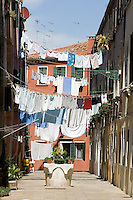 Panni stesi al sestiere Castello, Venezia.<br /> Clothes hanging at Castello sestiere in Venice.<br /> UPDATE IMAGES PRESS/Riccardo De Luca
