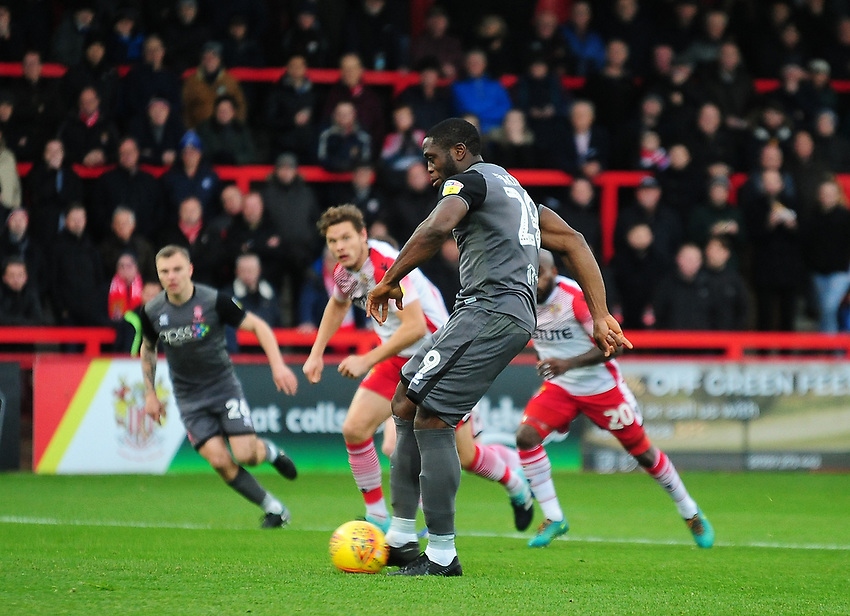 Lincoln City's John Akinde scores the opening goalfrom the penalty spot<br /> <br /> Photographer Andrew Vaughan/CameraSport<br /> <br /> The EFL Sky Bet League Two - Stevenage v Lincoln City - Saturday 8th December 2018 - The Lamex Stadium - Stevenage<br /> <br /> World Copyright © 2018 CameraSport. All rights reserved. 43 Linden Ave. Countesthorpe. Leicester. England. LE8 5PG - Tel: +44 (0) 116 277 4147 - admin@camerasport.com - www.camerasport.com